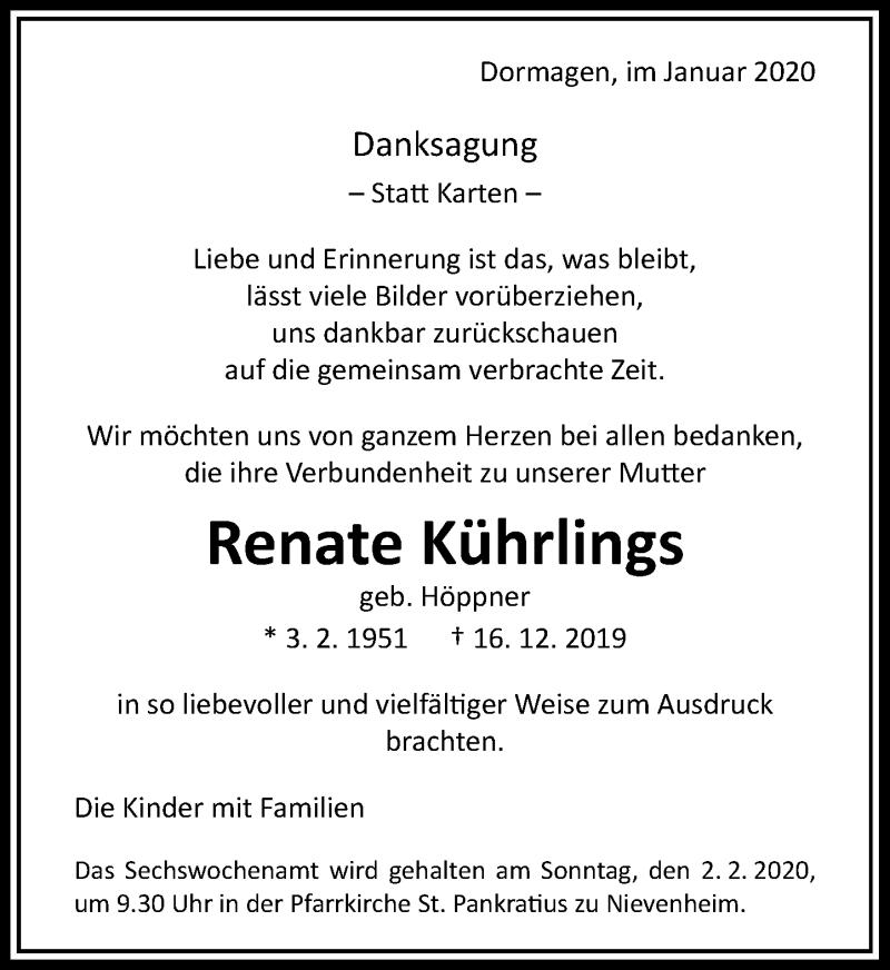 Anzeige von  Renate Kührlings