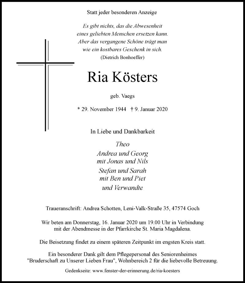 Anzeige von  Ria Kösters