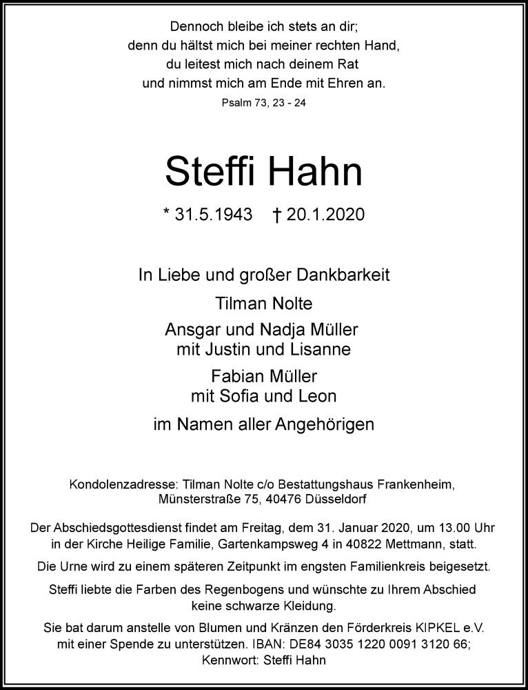 Anzeige von  Steffi Hahn