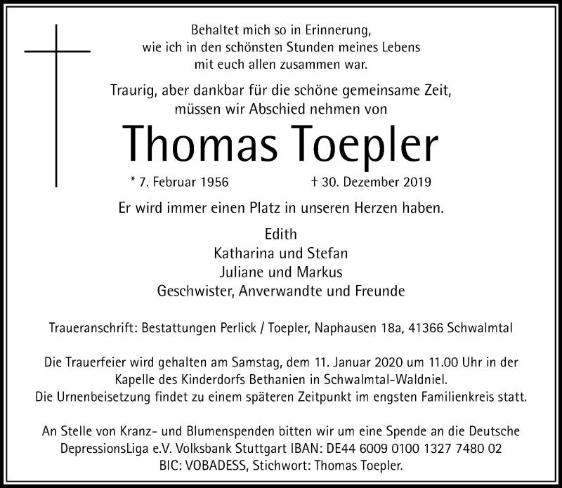 Anzeige von  Thomas Toepler