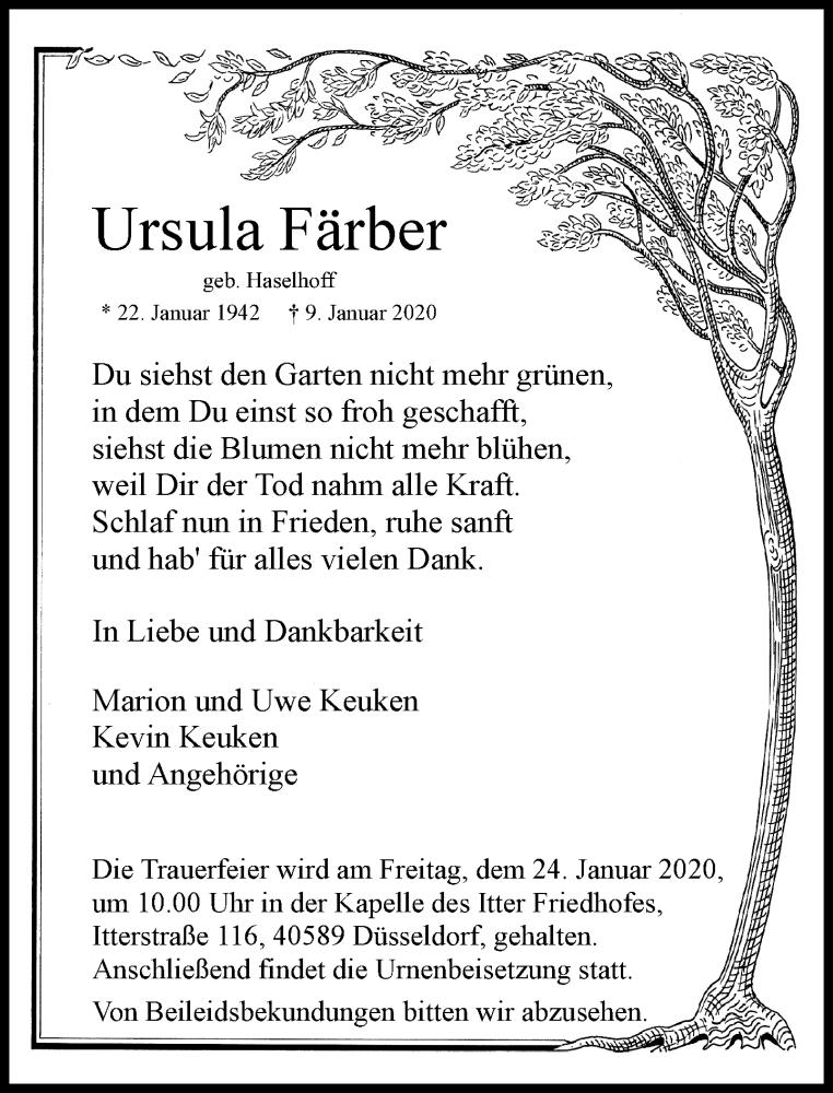 Anzeige von  Ursula Färber