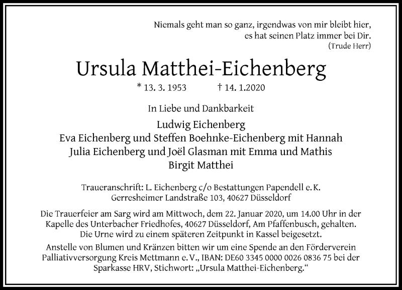 Anzeige von  Ursula Matthei-Eichenberg