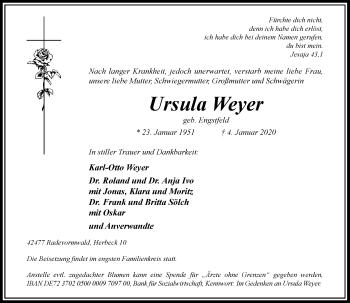 Traueranzeige von Ursula Weyer von Rheinische Post