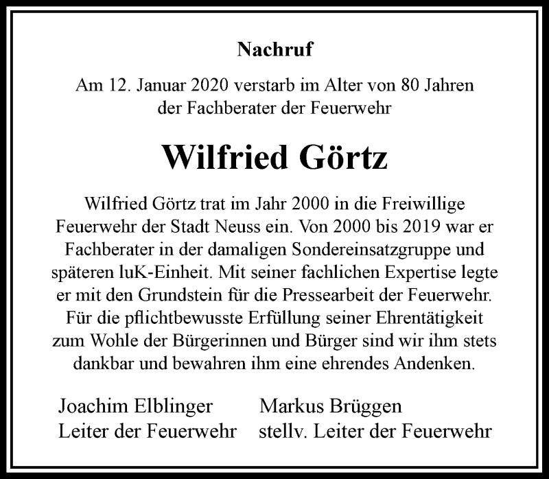 Traueranzeige für Wilfried Görtz vom 22.01.2020 aus Rheinische Post