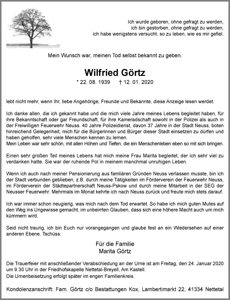 Traueranzeige für Wilfried Görtz vom 18.01.2020 aus Rheinische Post