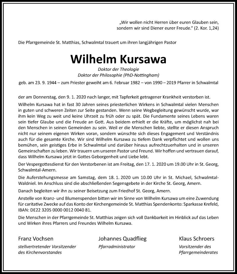 Traueranzeige für Wilhelm Kursawa vom 15.01.2020 aus Rheinische Post