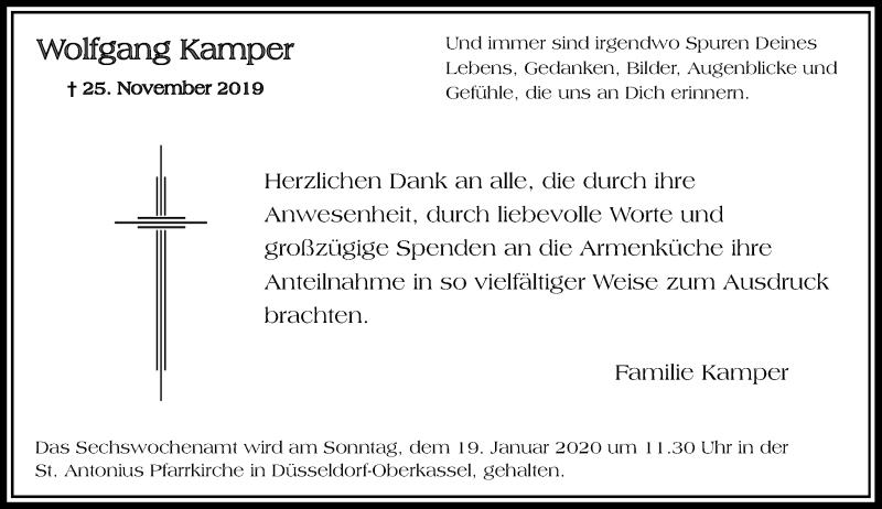 Traueranzeige für Wolfgang Kamper vom 04.01.2020 aus Rheinische Post