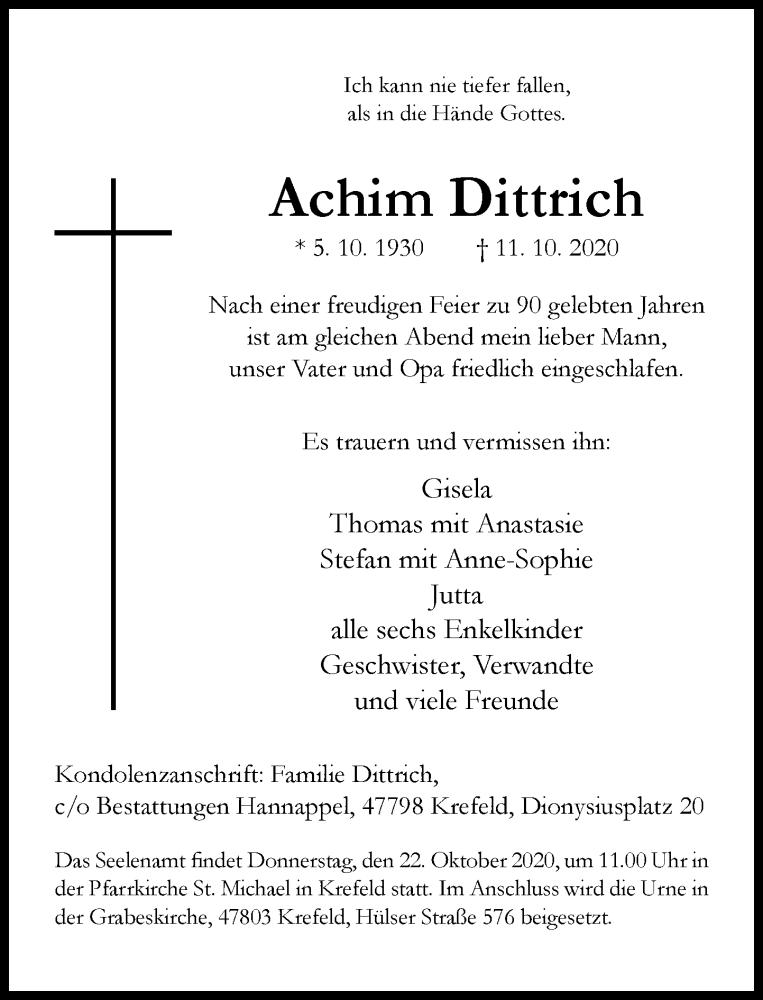 Traueranzeige für Achim Dittrich vom 17.10.2020 aus Rheinische Post