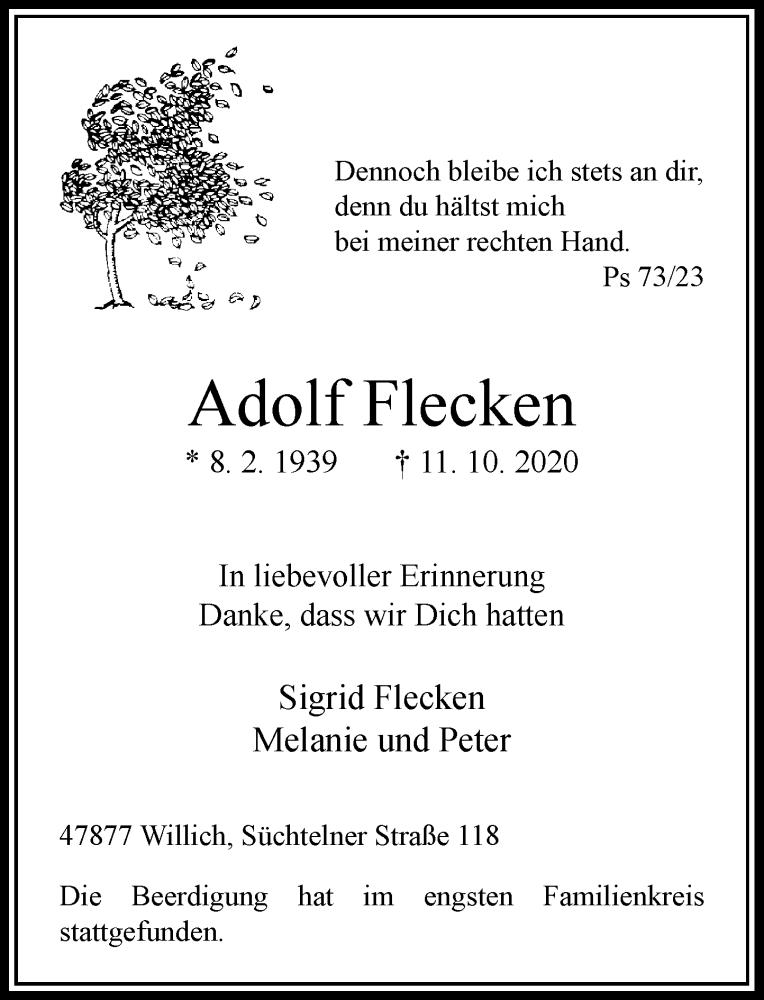 Anzeige von  Adolf Flecken