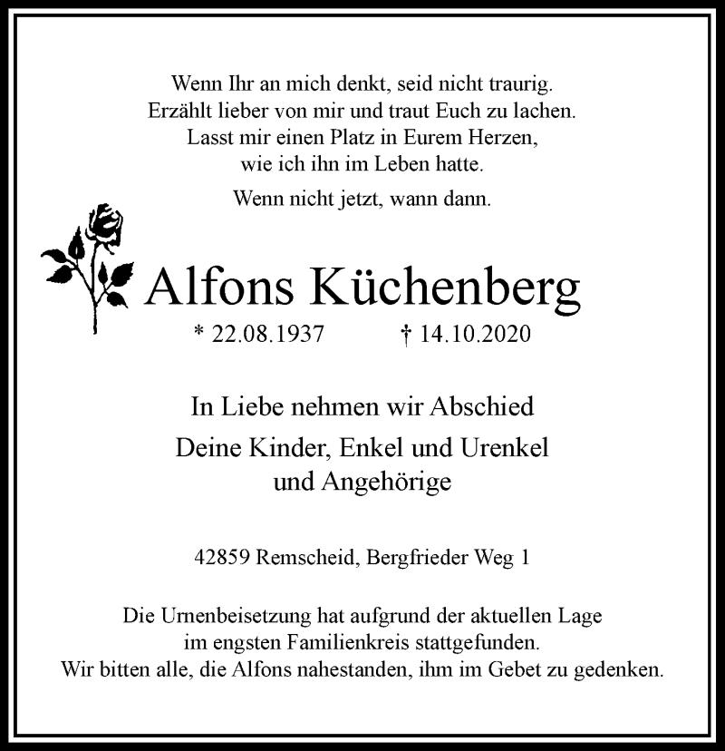 Traueranzeige für Alfons Küchenberg vom 07.11.2020 aus Rheinische Post