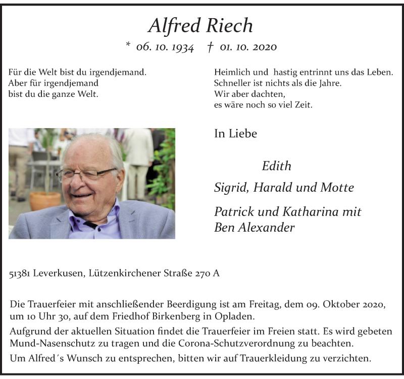 Traueranzeige für Alfred Riech vom 05.10.2020 aus Rheinische Post