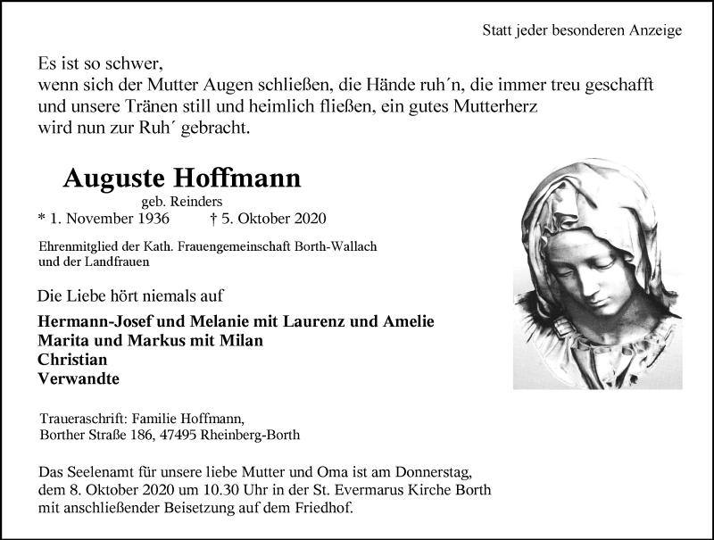 Traueranzeige für Auguste Hoffmann vom 06.10.2020 aus Rheinische Post