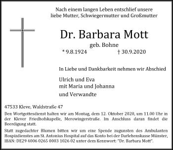 Traueranzeige von Barbara Mott von Rheinische Post