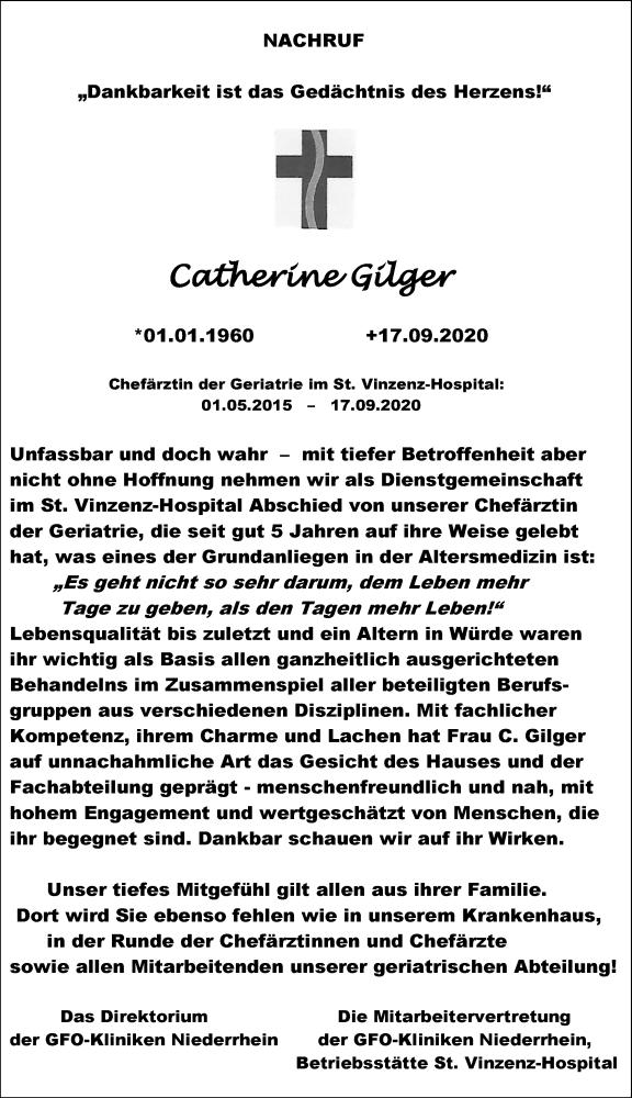 Traueranzeige für Catherine Gilger vom 07.10.2020 aus Rheinische Post