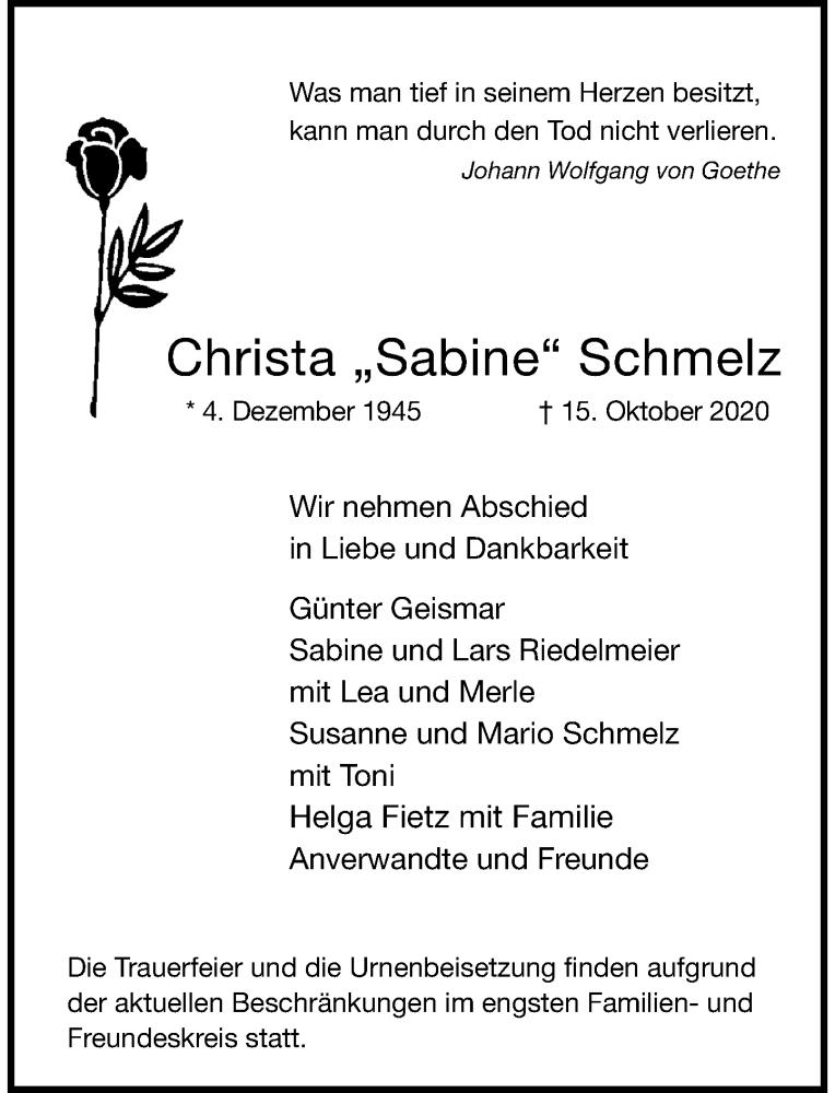 Traueranzeige für Christa  Schmelz vom 17.10.2020 aus Rheinische Post