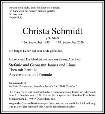 Traueranzeige von Christa Schmidt von Rheinische Post