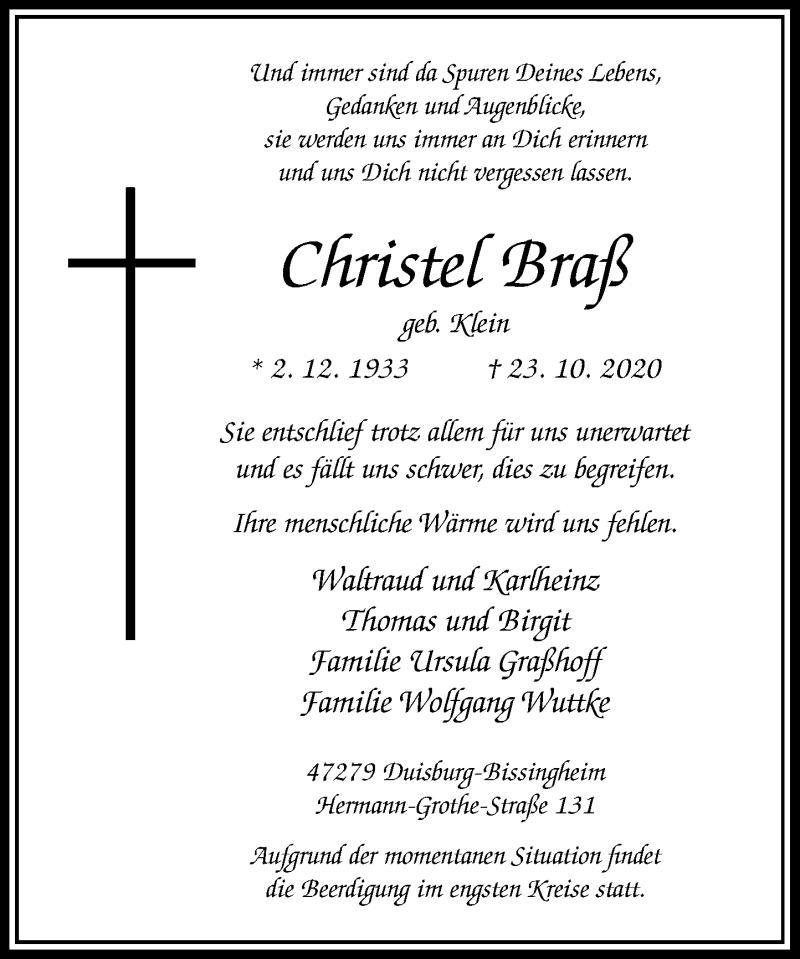 Traueranzeige für Christel Braß vom 28.10.2020 aus Rheinische Post