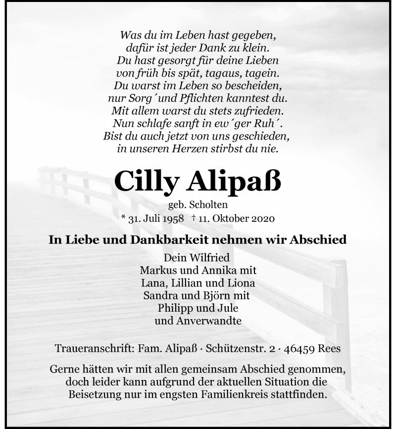 Traueranzeige für Cilly Alipaß vom 17.10.2020 aus Rheinische Post