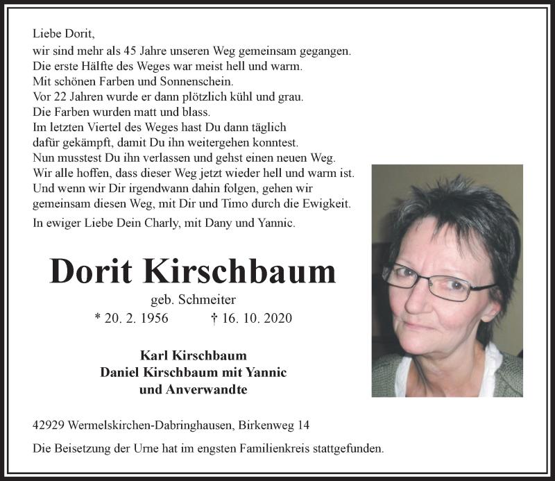 Traueranzeige für Dorit Kirschbaum vom 24.10.2020 aus Rheinische Post