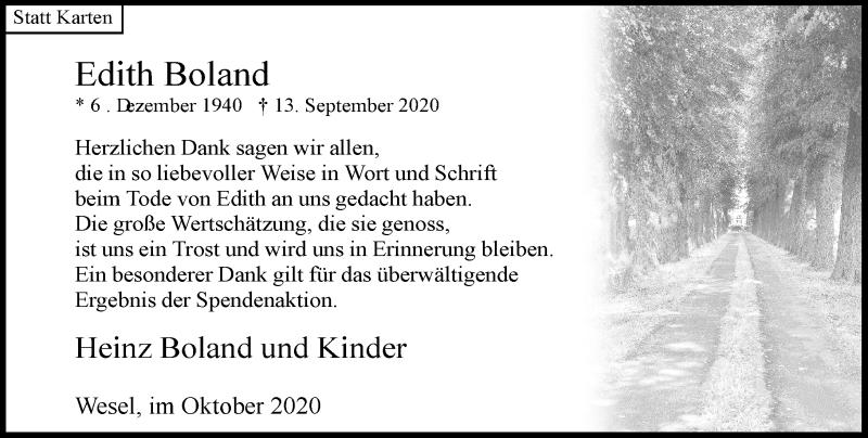 Traueranzeige für Edith Boland vom 24.10.2020 aus Rheinische Post