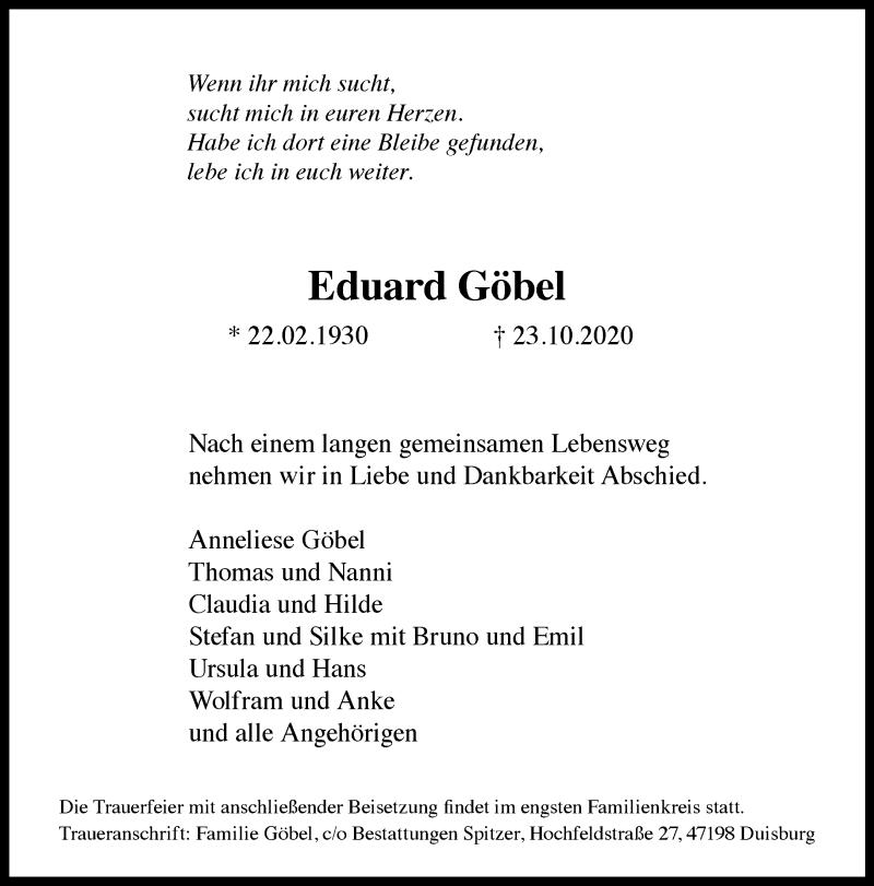 Traueranzeige für Eduard Göbel vom 31.10.2020 aus Rheinische Post