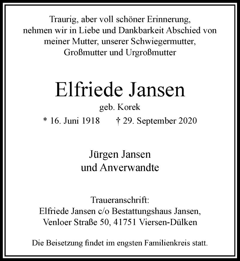 Traueranzeige für Elfriede Jansen vom 10.10.2020 aus Rheinische Post