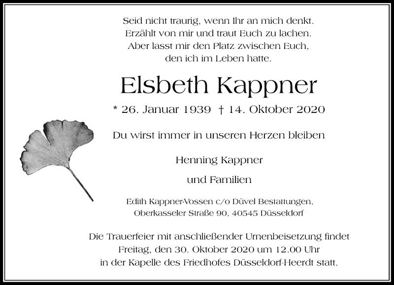 Traueranzeige für Elsbeth Kappner vom 24.10.2020 aus Rheinische Post