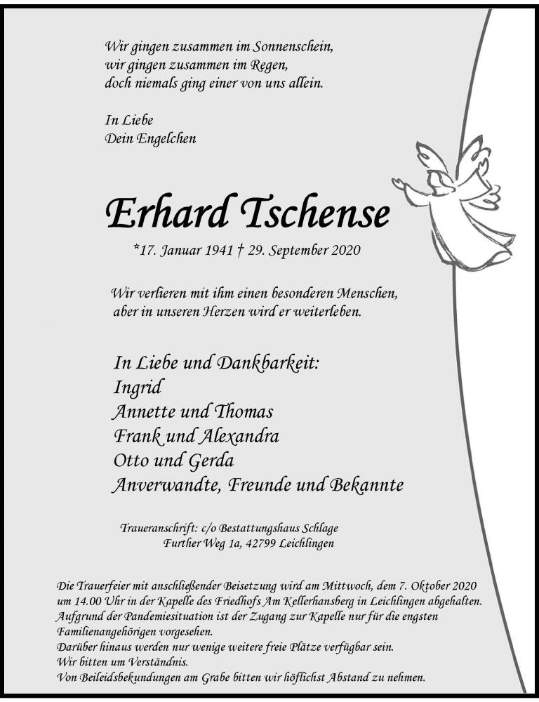 Traueranzeige für Erhard Tschense vom 03.10.2020 aus Rheinische Post