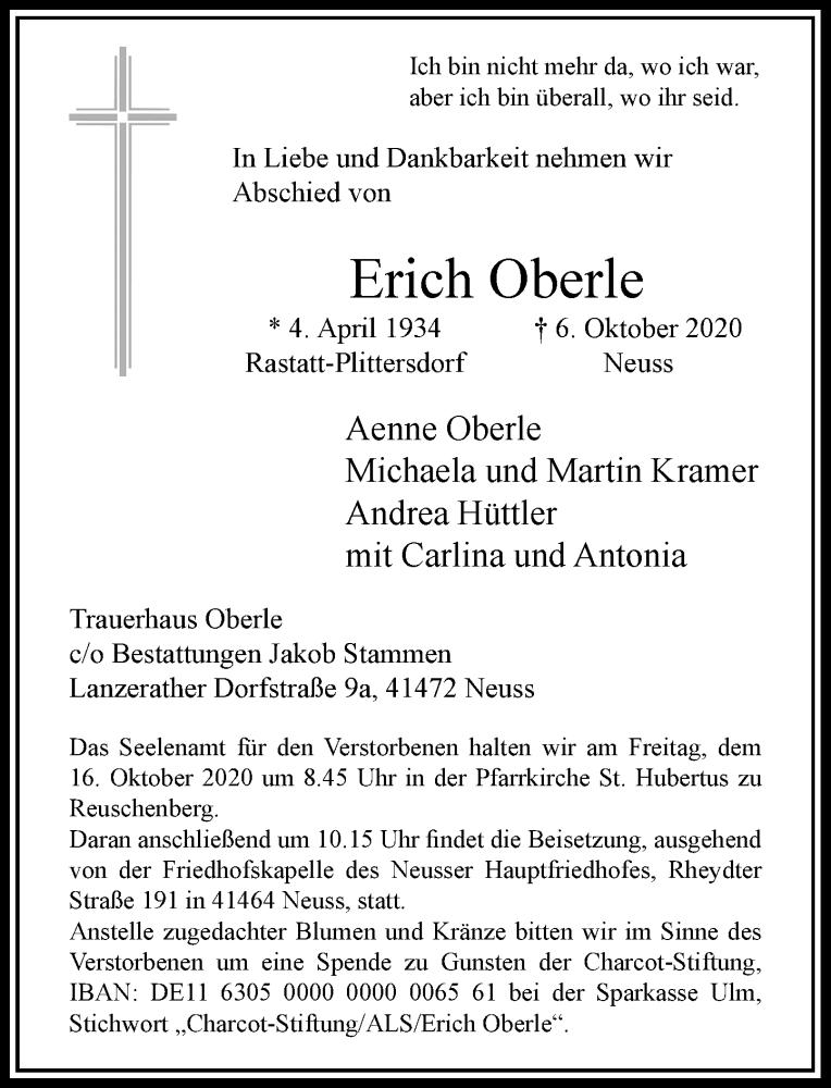 Traueranzeige für Erich Oberle vom 10.10.2020 aus Rheinische Post