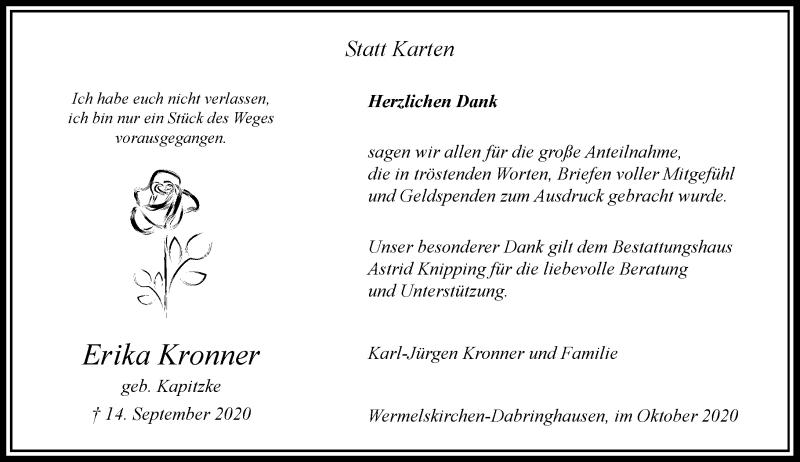 Traueranzeige für Erika Kronner vom 23.10.2020 aus Rheinische Post