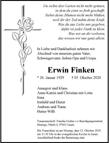 Traueranzeige von Erwin Finken von Rheinische Post