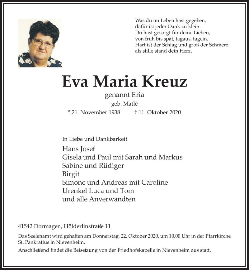 Traueranzeige für Eva Maria Kreuz vom 17.10.2020 aus Rheinische Post