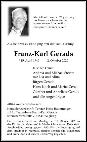 Traueranzeige von Franz-Karl Gerads von Rheinische Post