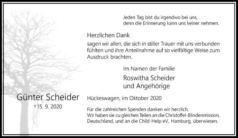 Traueranzeige für Günter Scheider vom 31.10.2020 aus Rheinische Post