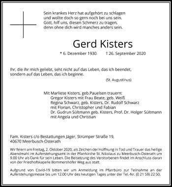 Traueranzeige von Gerd Kisters von Rheinische Post