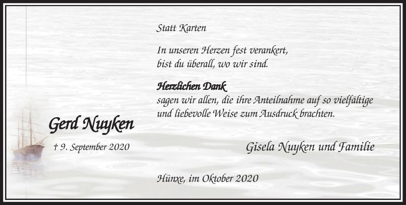 Traueranzeige für Gerd Nuyken vom 17.10.2020 aus Rheinische Post