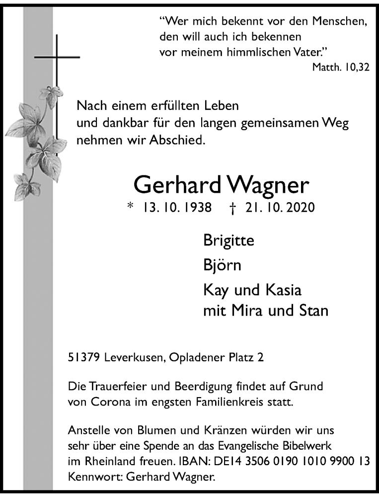 Traueranzeige für Gerhard Wagner vom 24.10.2020 aus Rheinische Post