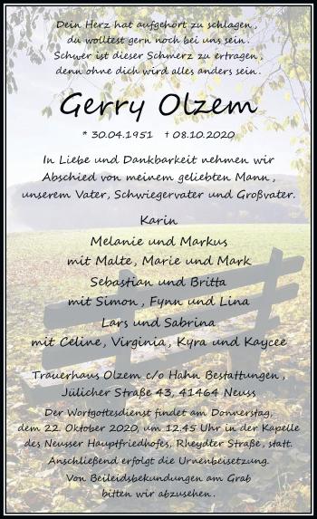 Traueranzeige von Gerry Olzem von Rheinische Post