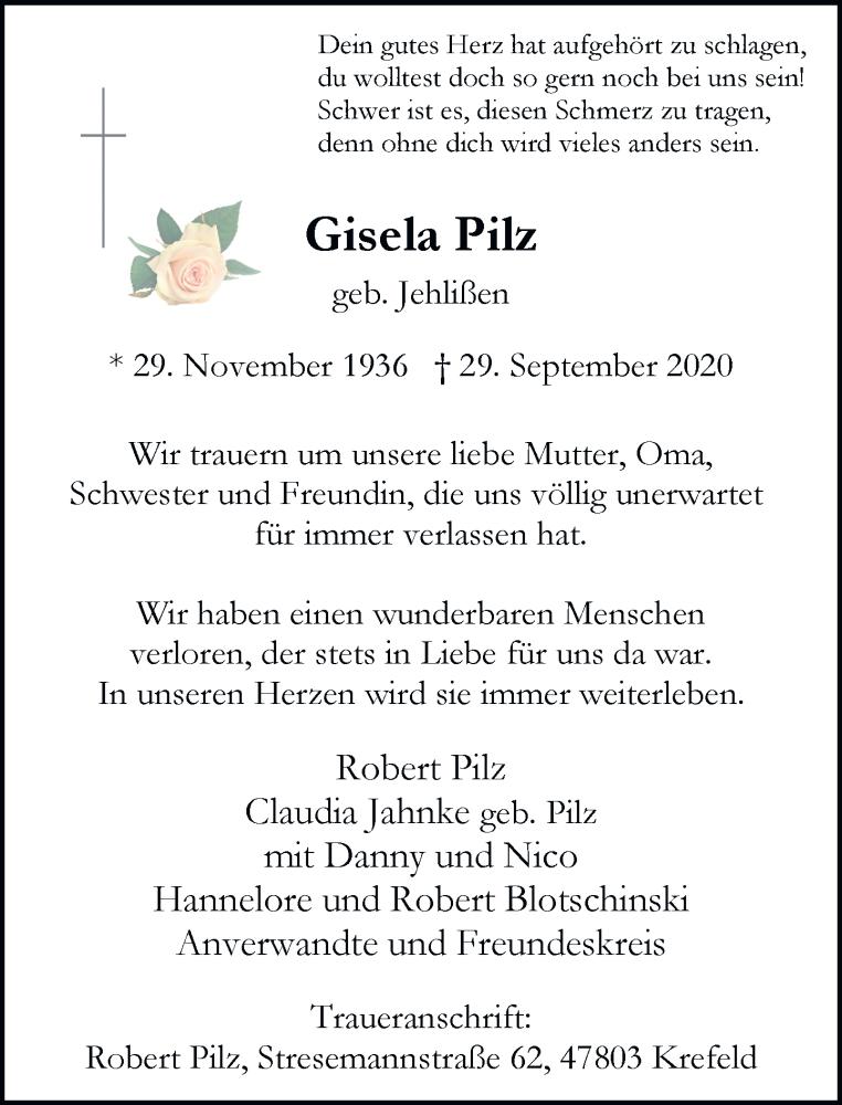Traueranzeige für Gisela Pilz vom 17.10.2020 aus Rheinische Post
