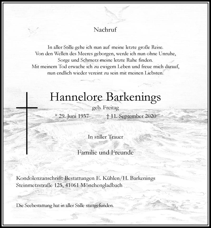 Traueranzeige für Hannelore Barkenings vom 10.10.2020 aus Rheinische Post