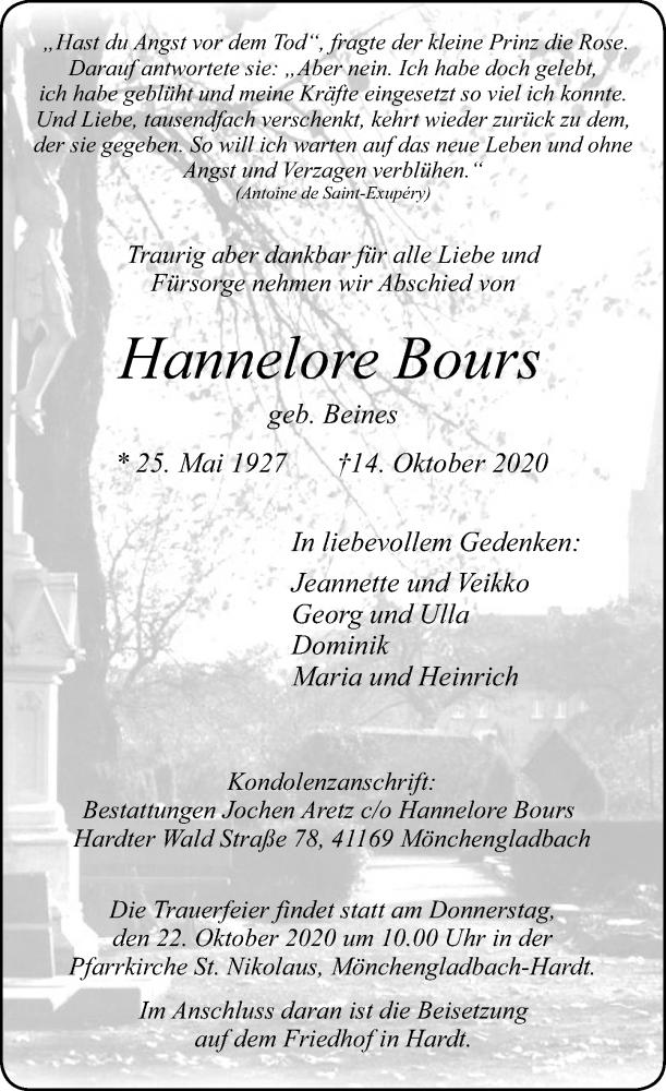 Traueranzeige für Hannelore Bours vom 17.10.2020 aus Rheinische Post