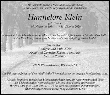 Traueranzeige von Hannelore Klein von Rheinische Post