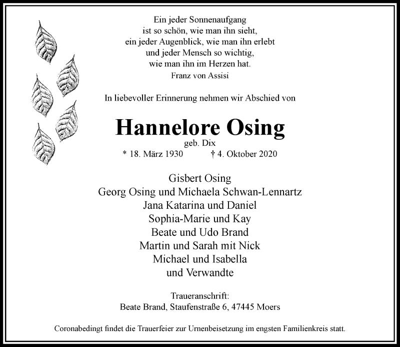 Traueranzeige für Hannelore Osing vom 14.10.2020 aus Rheinische Post