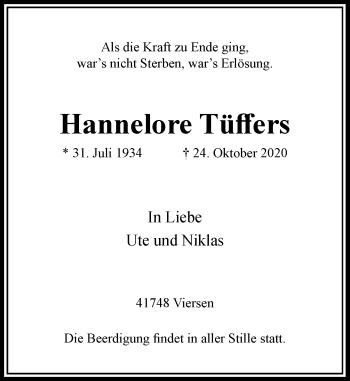 Traueranzeige von Hannelore Tüffers von Rheinische Post