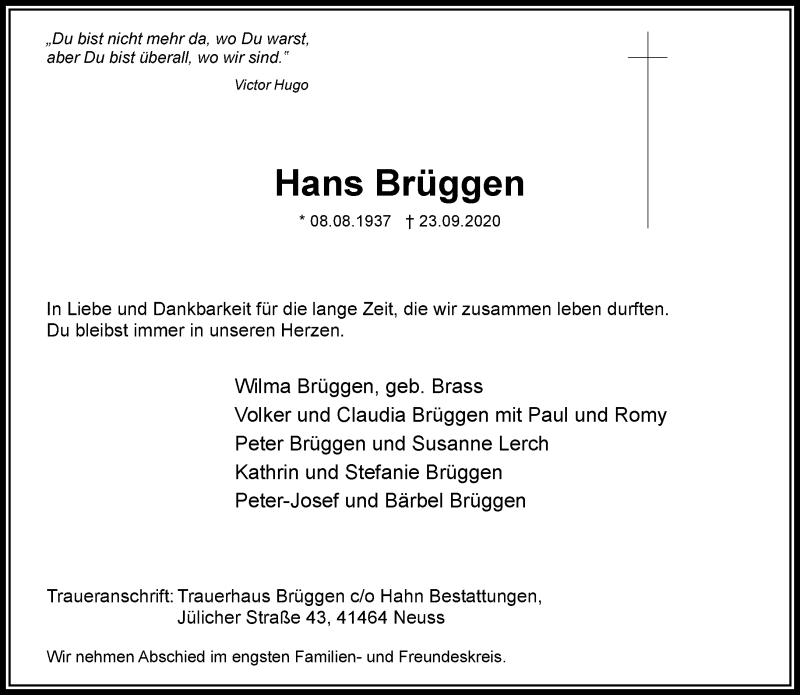 Traueranzeige für Hans Brüggen vom 03.10.2020 aus Rheinische Post