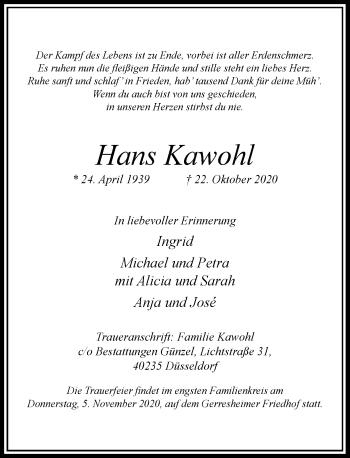 Traueranzeige von Hans Kawohl von Rheinische Post