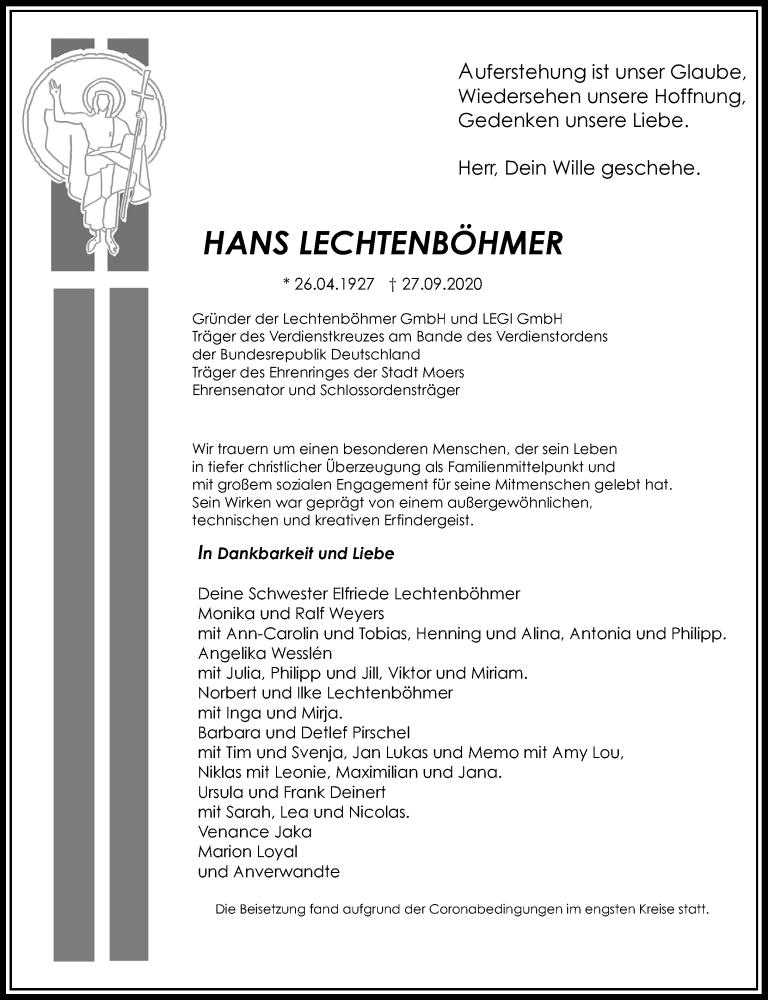 Traueranzeige für Hans Lechtenböhmer vom 03.10.2020 aus Rheinische Post