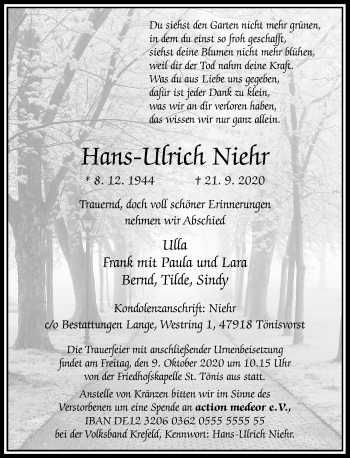 Traueranzeige von Hans-Ulrich Niehr von Rheinische Post