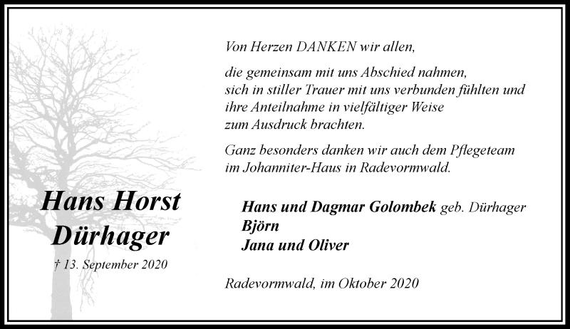 Traueranzeige für Hans Horst Dürhager vom 17.10.2020 aus Rheinische Post