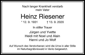 Traueranzeige von Heinz Riesener von Rheinische Post